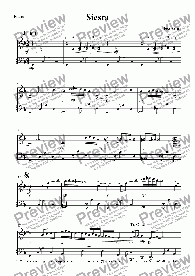 page one of the Piano part from Siesta  [ solo inst + pno]