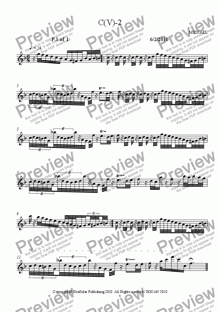 page one of the flute part from C(V)-2