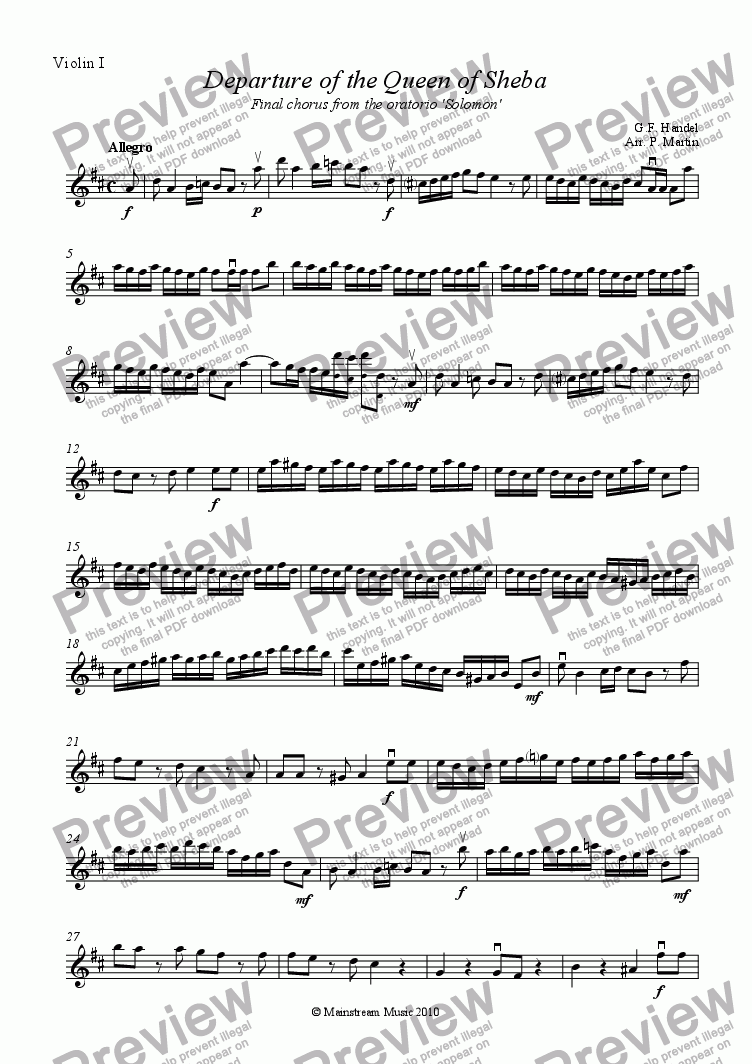 page one of the Violin I part from Departure of the Queen of Sheba - String Orchestra/Quartet