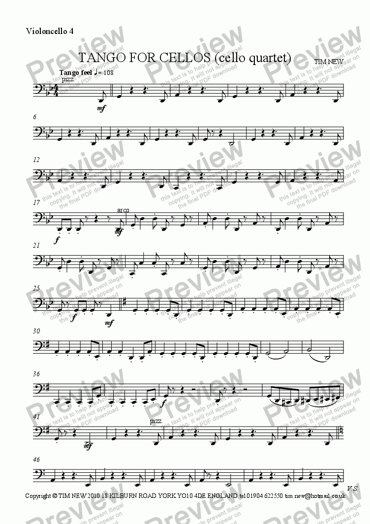 page one of the violoncello 4 part from TANGO FOR CELLOS (cello quartet)