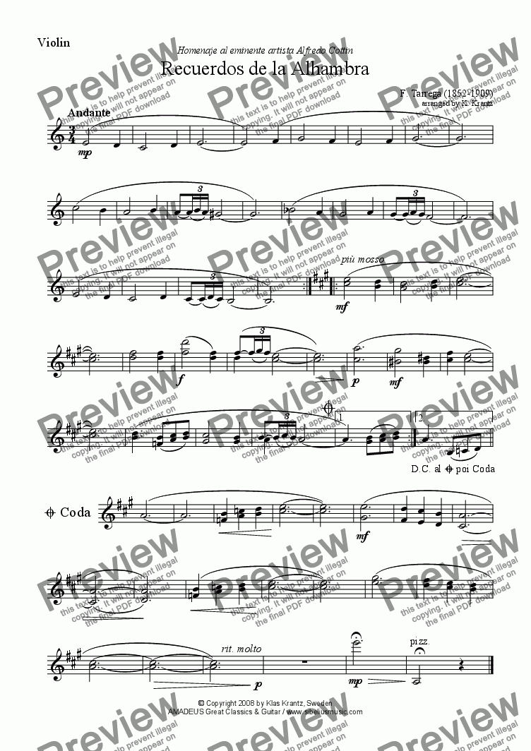 page one of the violin part from Recuerdos de la Alhambra for violin and guitar (A minor)
