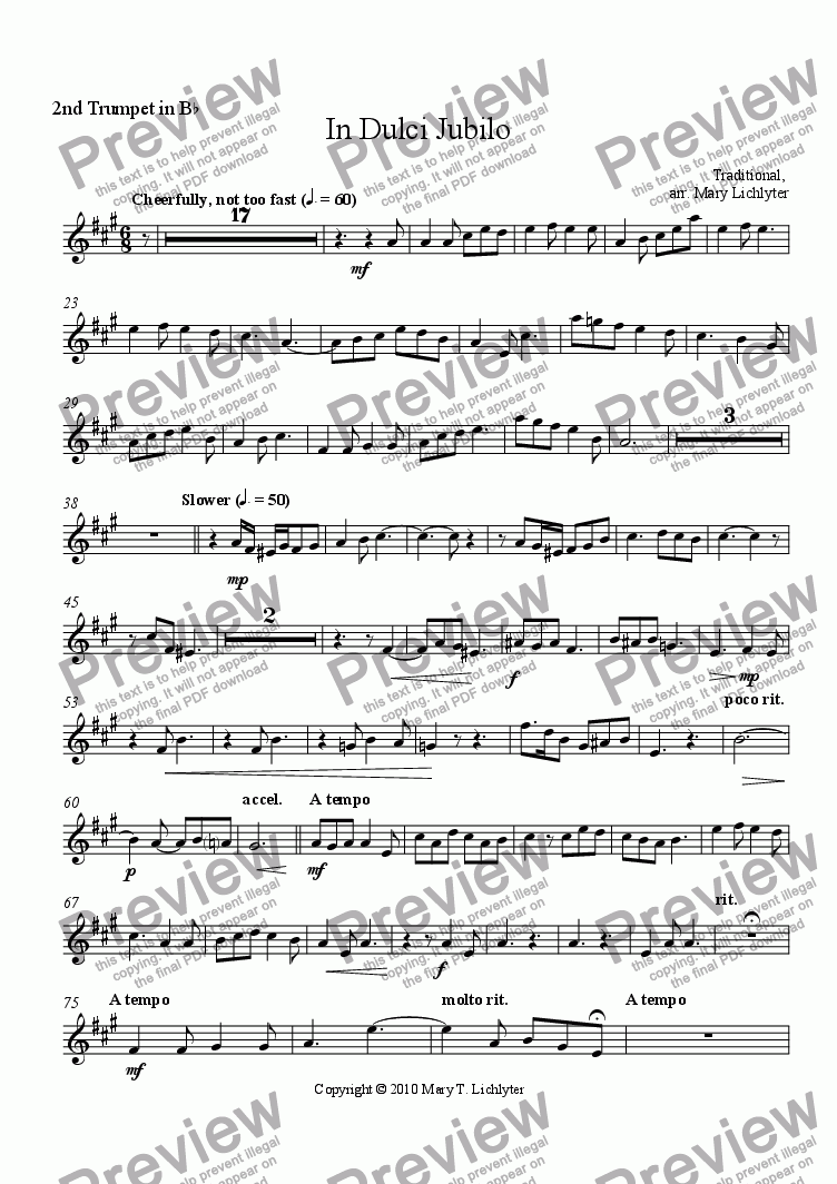 page one of the Trumpet II part from In Dulci Jubilo