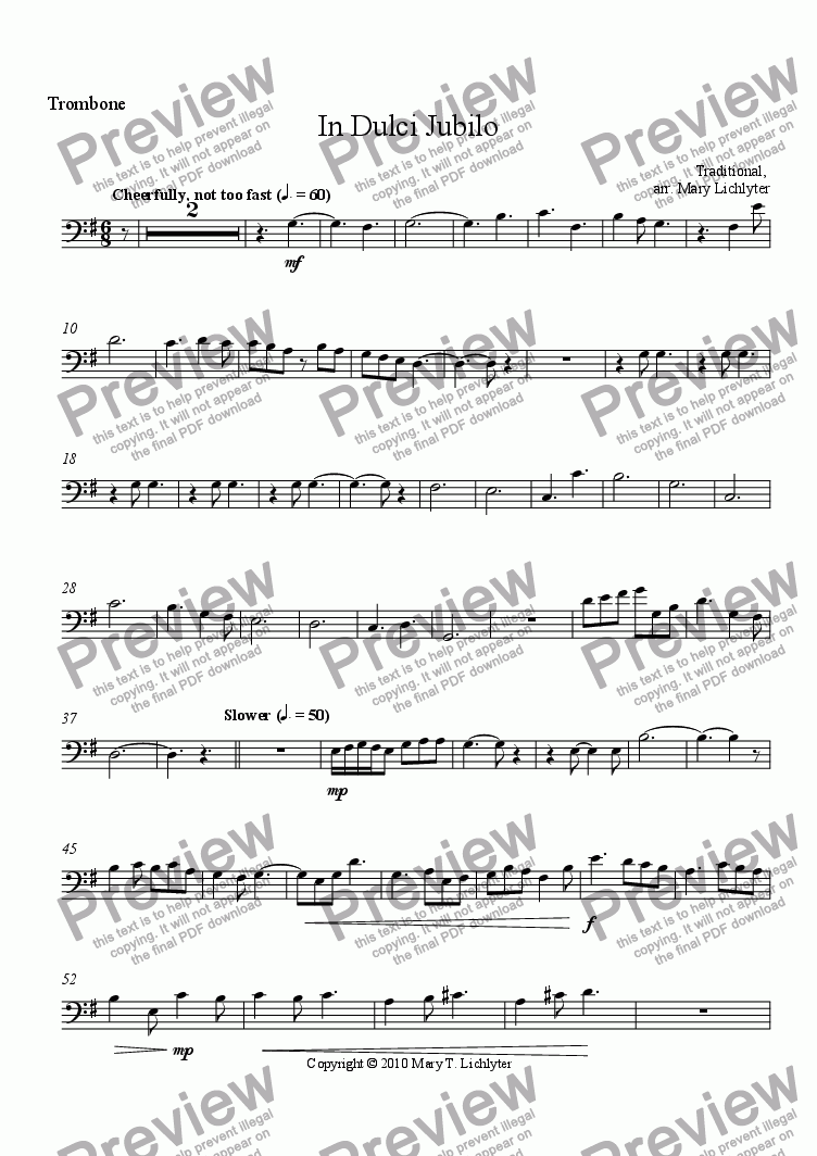 page one of the Trombone part from In Dulci Jubilo