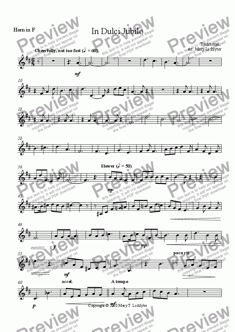 page one of the Horn in F part from In Dulci Jubilo