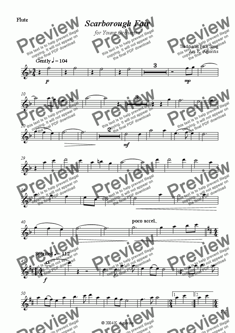 page one of the Flute part from Scarborough Fair - for Young Orchestra