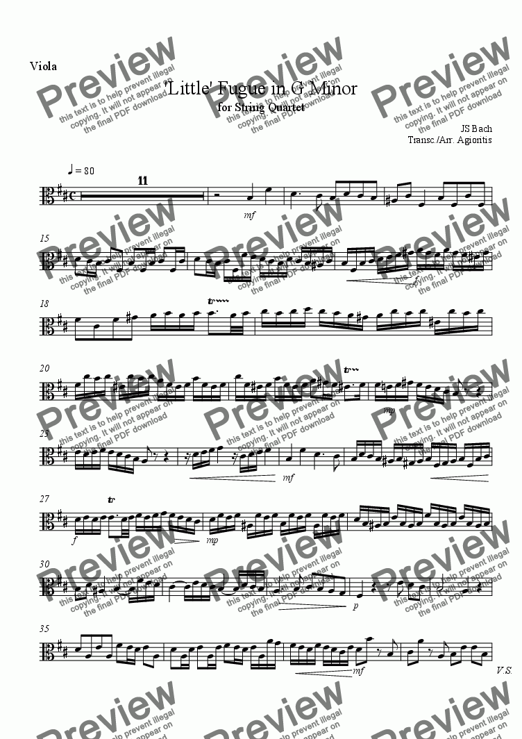 page one of the Viola part from 'Little' Fugue in G Minor - for String Quartet