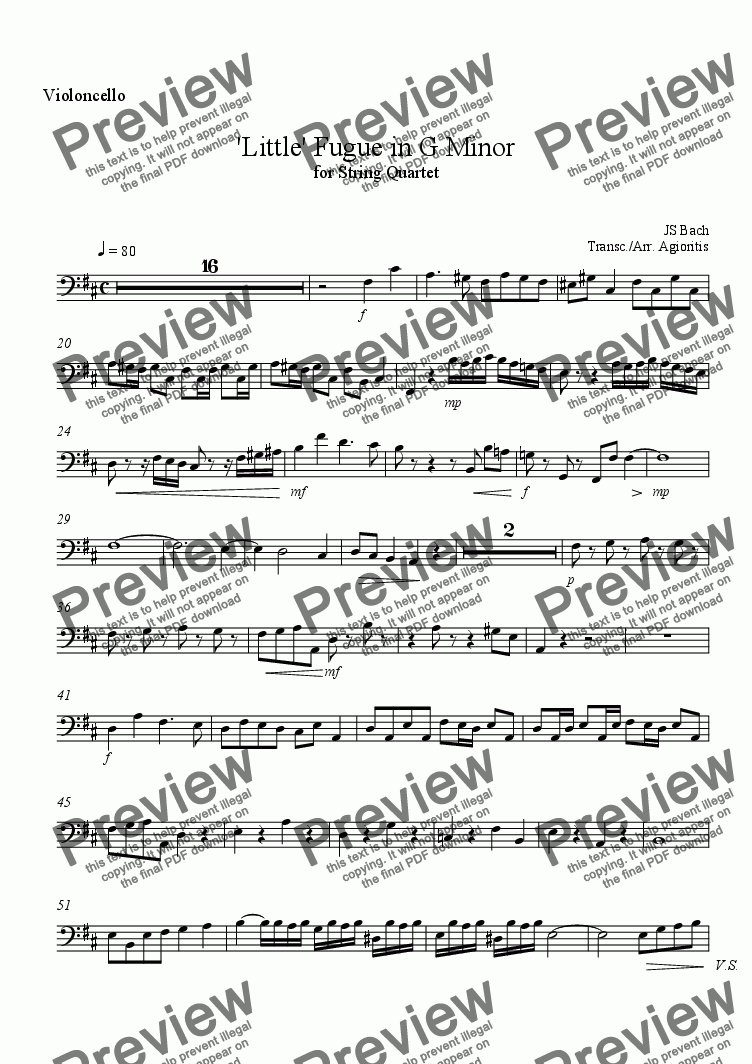 page one of the Violoncello part from 'Little' Fugue in G Minor - for String Quartet