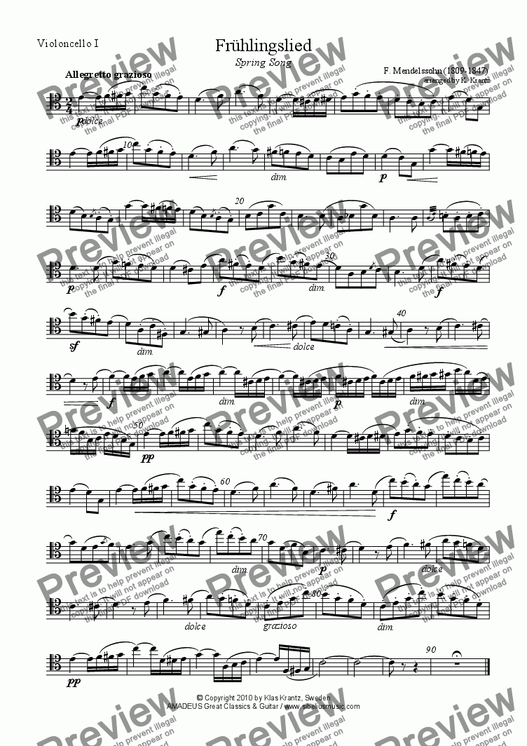 page one of the violoncello I part from Frühlingslied / Spring Song for cello quartet