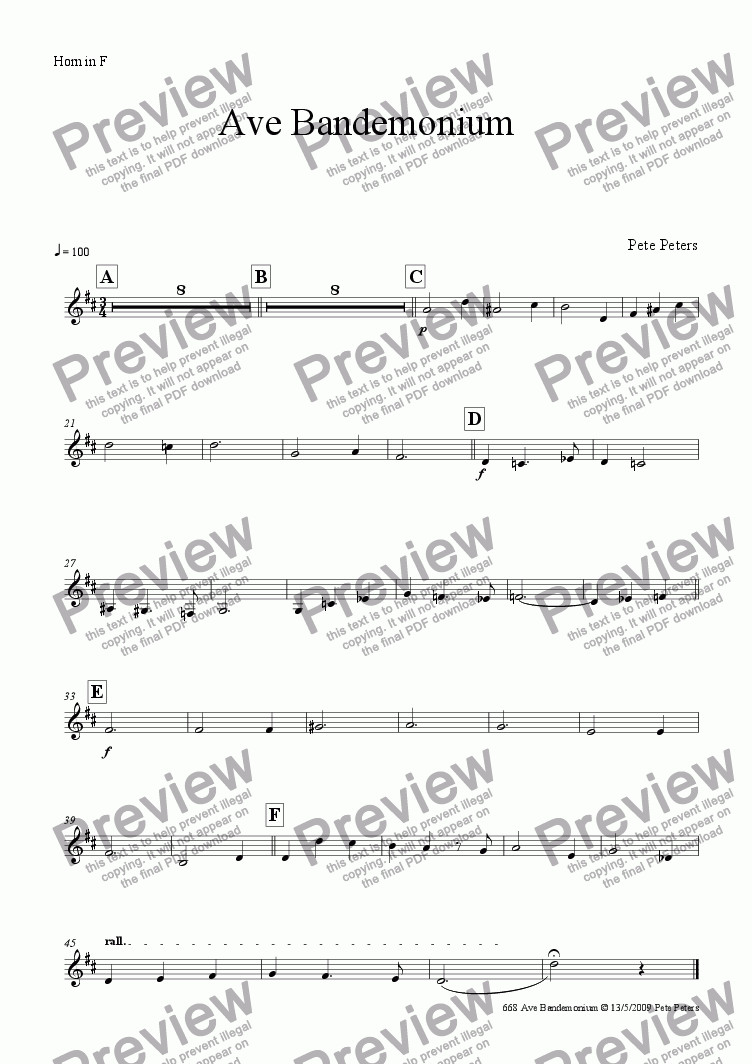 page one of the Horn in F part from Ave Bandemonium  [13 piece]