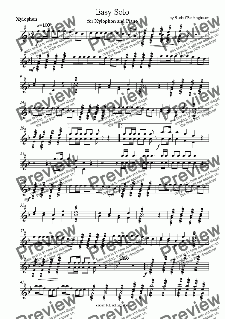 page one of the xylophon part from Easy Solo for Xylophone and Piano