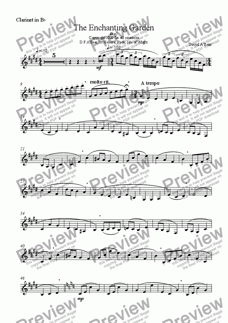 page one of the Clarinet in Bb part from The Enchanting Garden