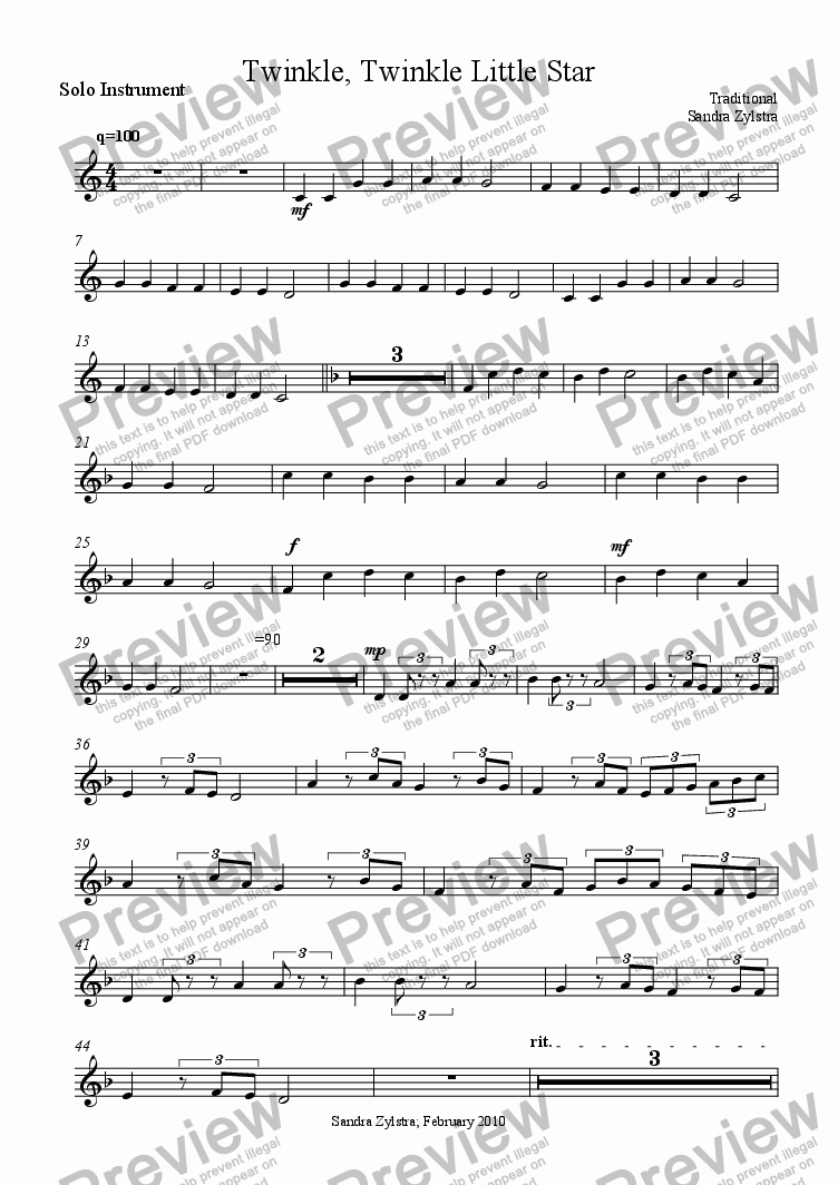 page one of the Twinkle Twinkle Little Star - solo instrument part from Twinkle, Twinkle Little Star (Solo Instrument & Piano)