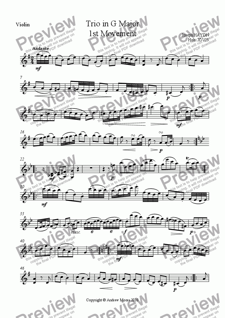 page one of the Violin part from Piano Trio in G major (Hob.XV/25) - 1st Movement
