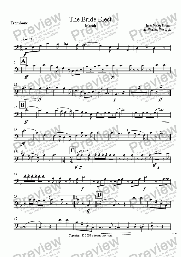 page one of the The Bride Elect - Trombone part from The Bride Elect (March) for Brass Quintet
