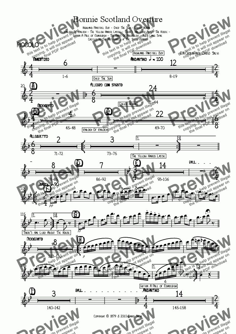 page one of the piccolo part from Bonnie Scotland Overture