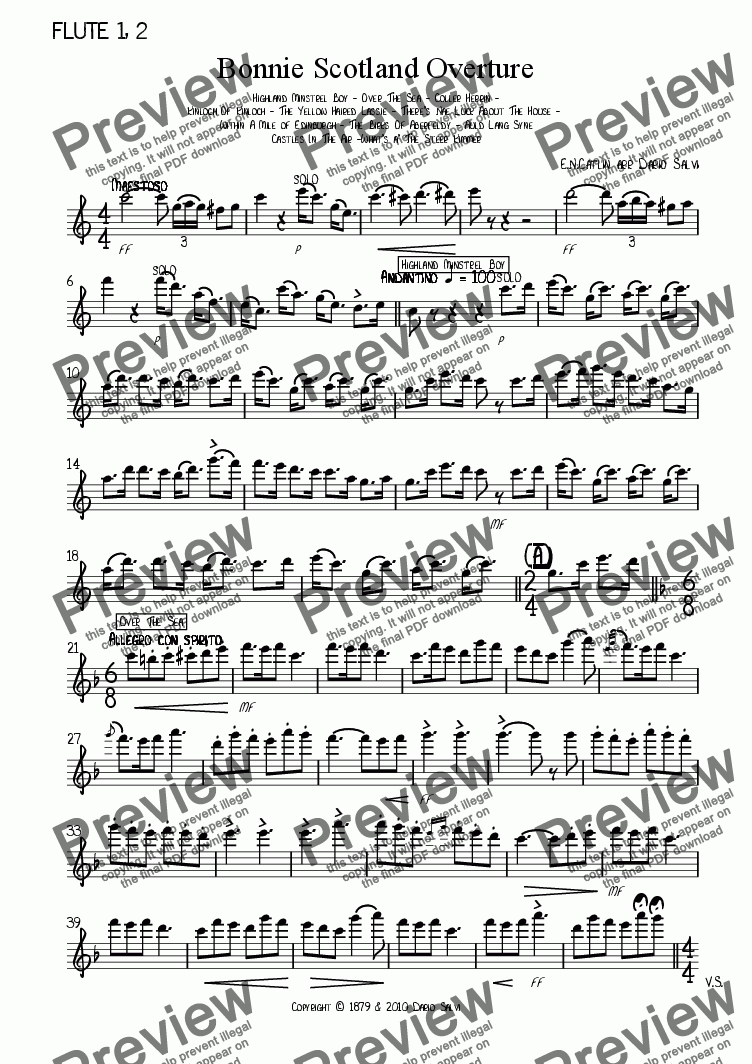 page one of the flute part from Bonnie Scotland Overture