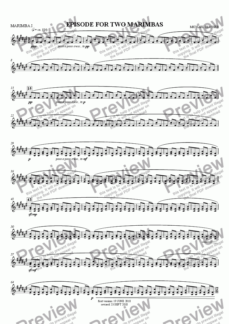 page one of the MARIMBA I part from episode for two marimbas