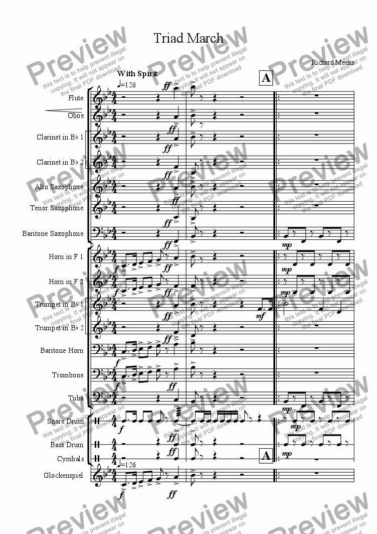 page one of the Bari Sax part from Triad March