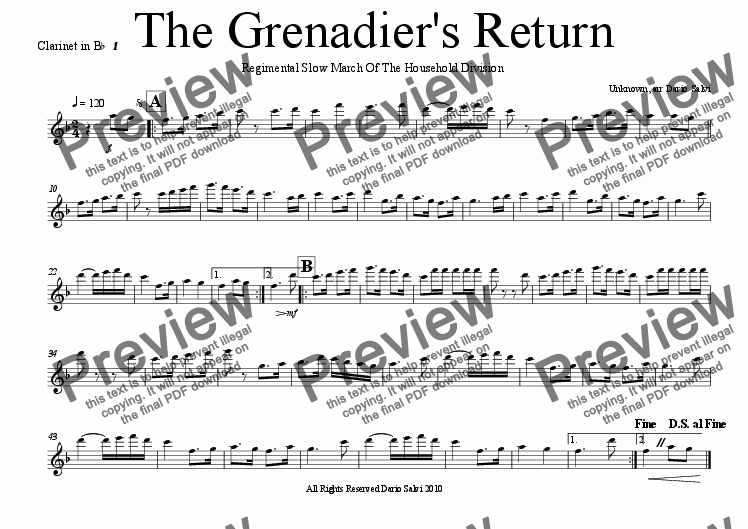 page one of the 1 clarinet part from The Grenadier's Return - Regimental Slow March as used in Trooping The Colour