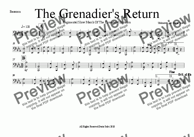 page one of the bassoon part from The Grenadier's Return - Regimental Slow March as used in Trooping The Colour