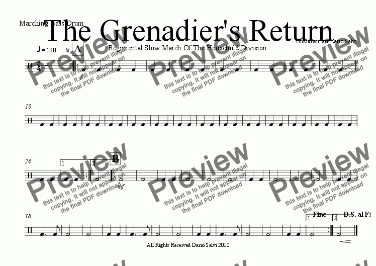 page one of the bass drum part from The Grenadier's Return - Regimental Slow March as used in Trooping The Colour