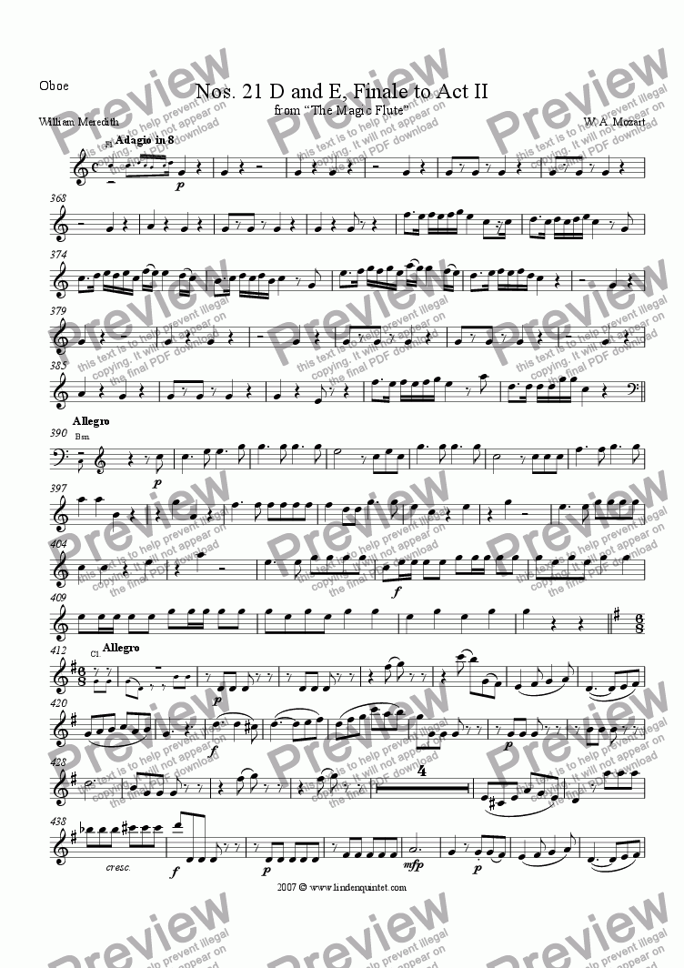 page one of the Oboe part from Mozart - Magic Flute No. 21 D and E