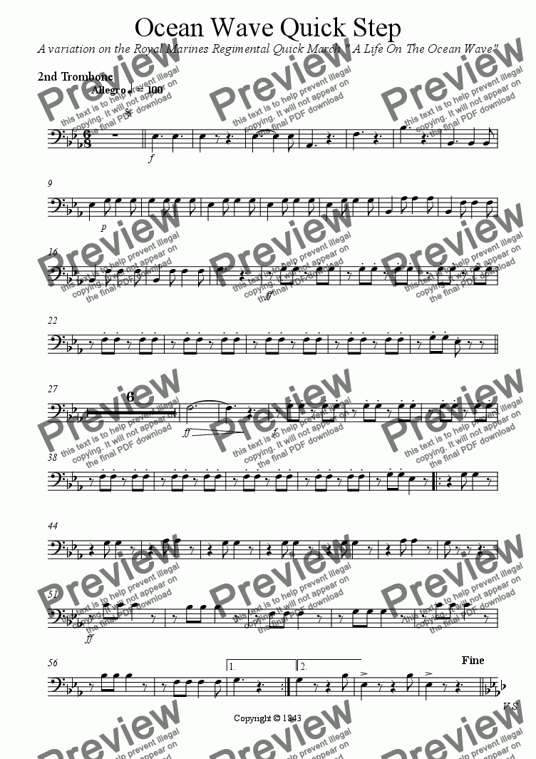 page one of the 2 Trombone part from Ocean Wave Quick Step - Brass Band