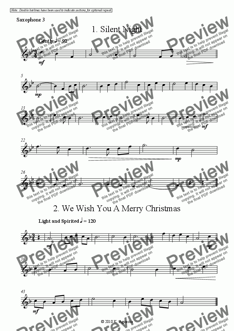 page one of the Sax 3 part from Carols for Four - 15 Christmas Carols for 4 like Saxophones