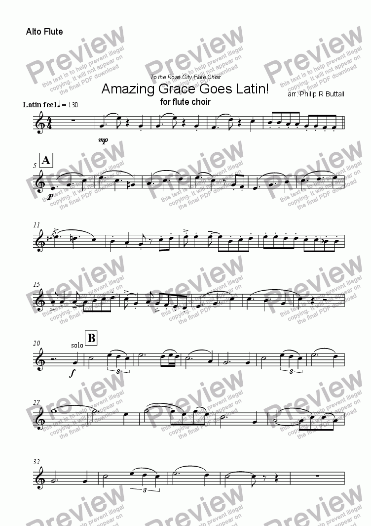page one of the Alto Flute part from Amazing Grace Goes Latin! (Flute Choir)