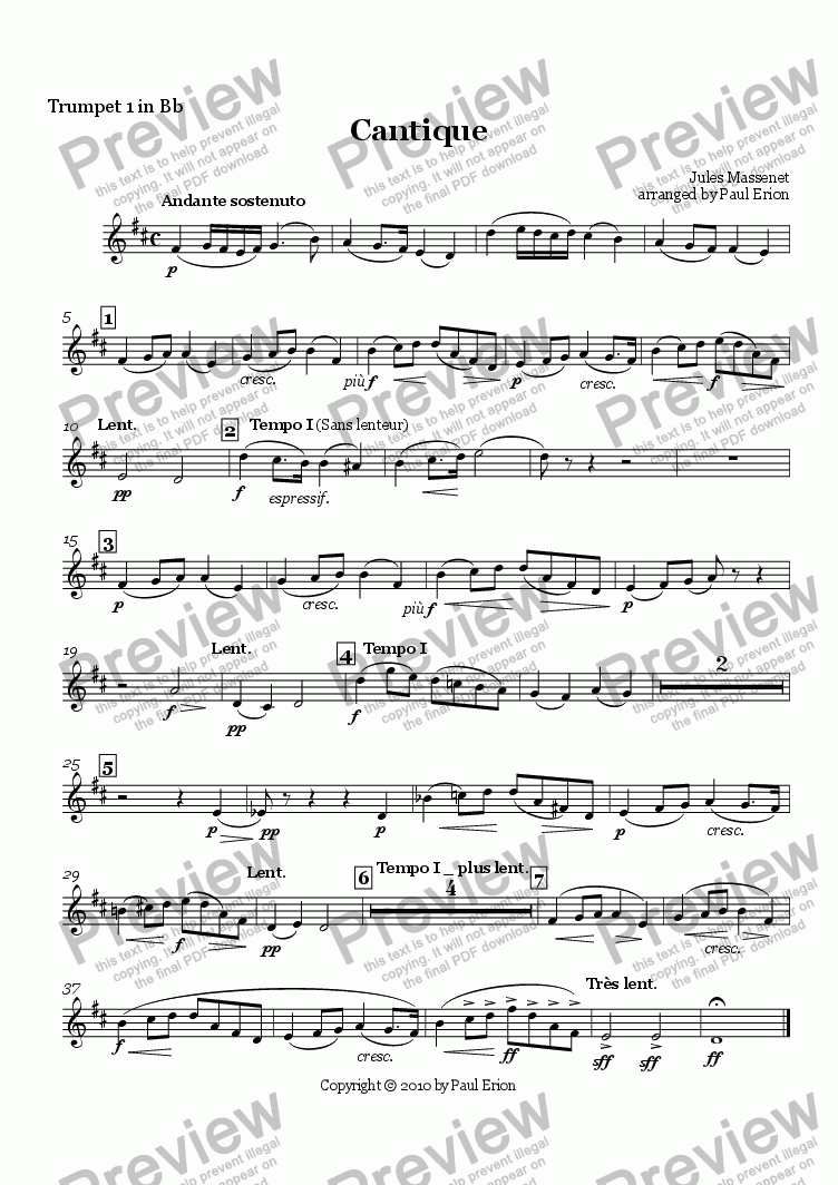 page one of the Trumpet 1 in Bb part from Cantique