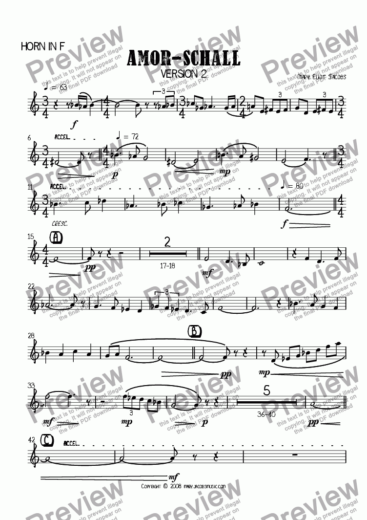 page one of the Horn in F part from Amor Schall (version 2)