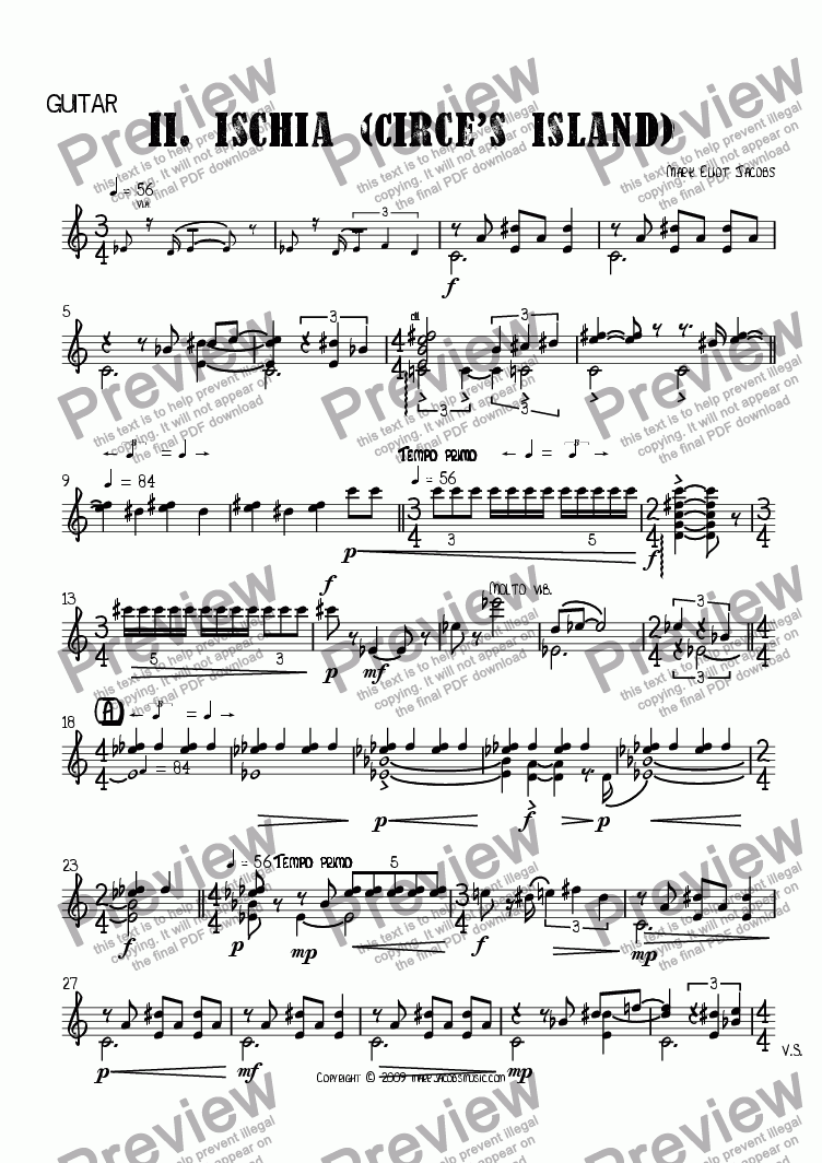 page one of the guitar part from The Islands II: Ischia (Circe's Island)