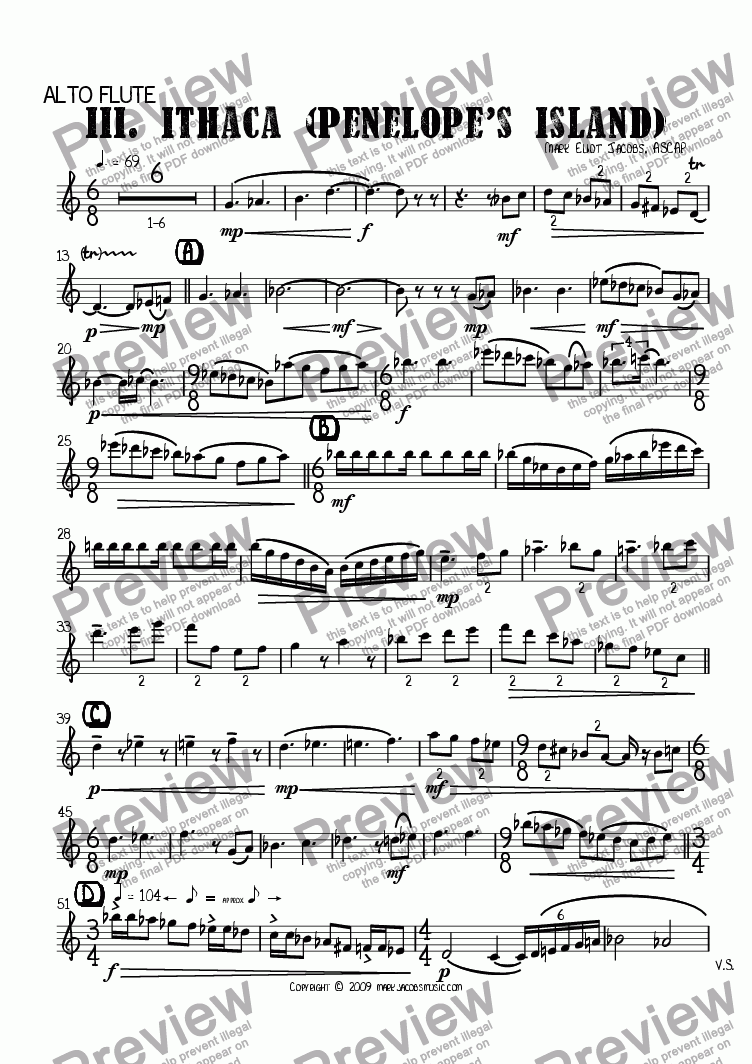 page one of the alto flute in G part from The Islands III: Ithaca (Penelope's Island)