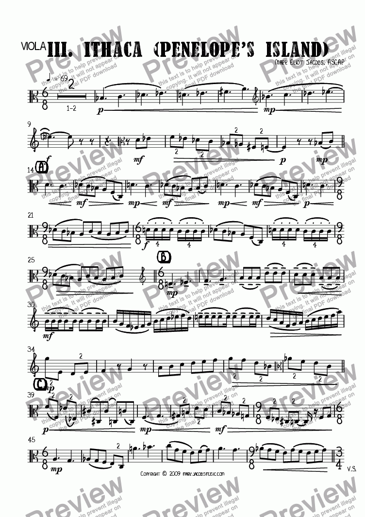 page one of the viola part from The Islands III: Ithaca (Penelope's Island)