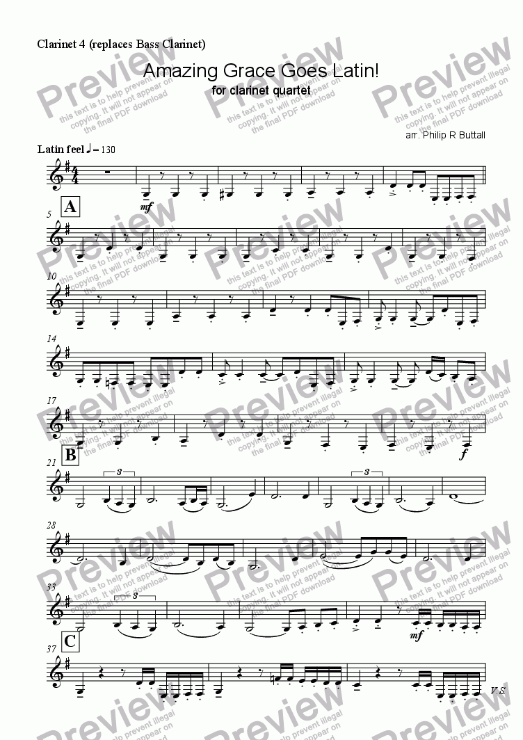 page one of the Clarinet 4 (replaces Bass Clarinet) part from Amazing Grace Goes Latin! (Clarinet Quartet)