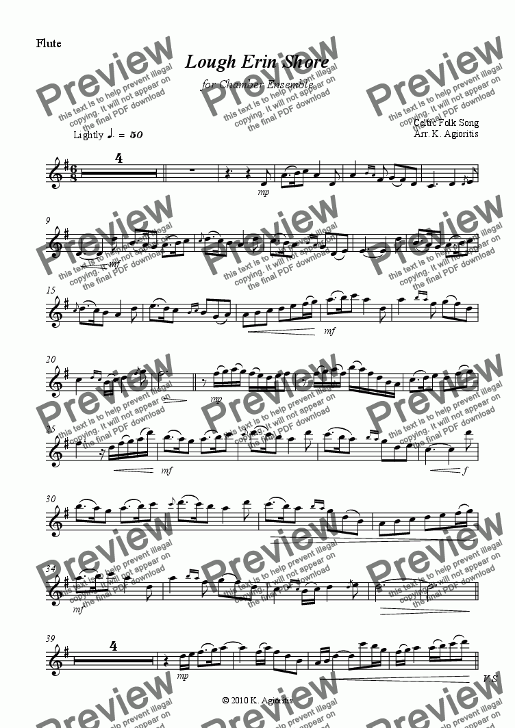 page one of the Flute part from Lough Erin Shore - for Chamber Ensemble