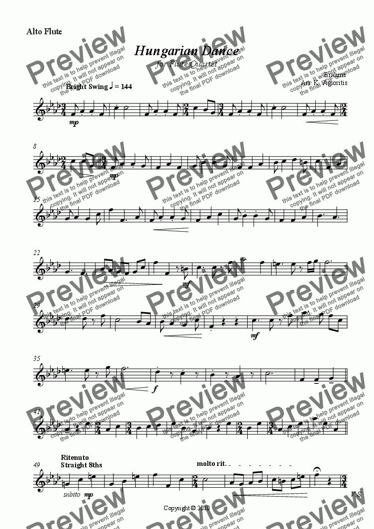 page one of the Alto Flute part from Hungarian Dance - for Flute Quartet