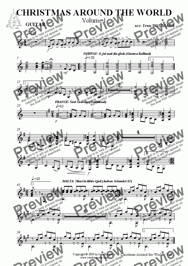 page one of the Guitar (optional) part from Christmas Around the World (Volume 1) (for Variable Quartet)