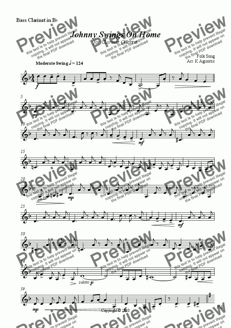 page one of the Bass Clarinet part from Johnny Swings On Home - for Clarinet Quartet