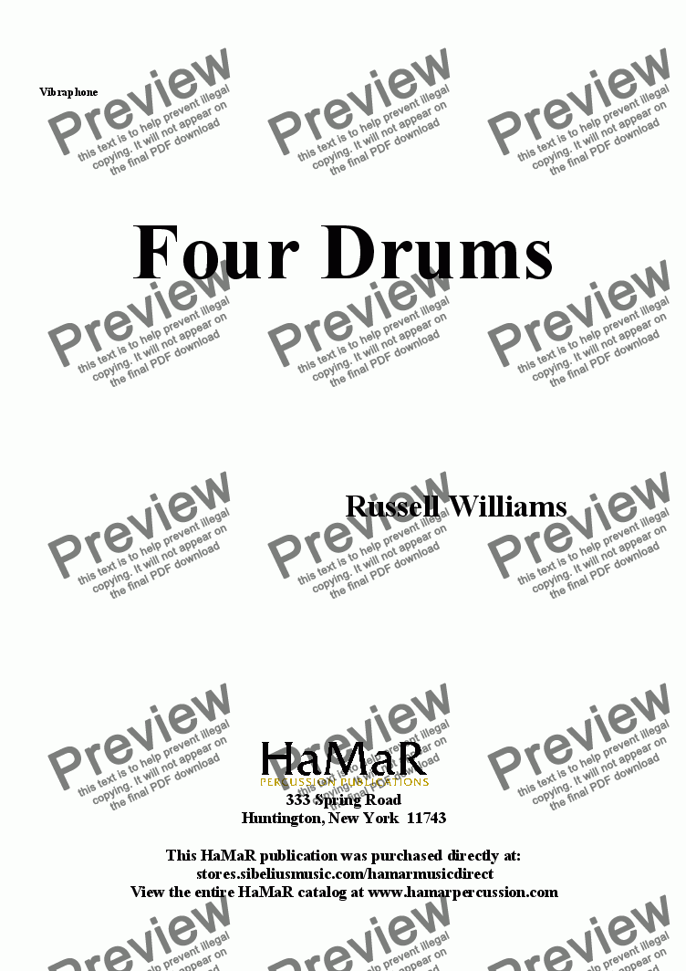 page one of the Vibraphone part from Four Drums