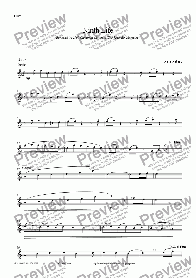 page one of the Flute or Recorder part from Ninth Life [9 of 10] recorder