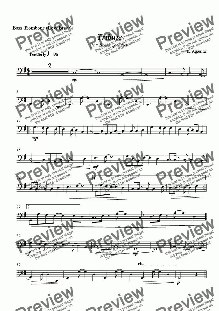 page one of the Bass Trombone (Low Brass) part from Tribute - for Brass Quartet