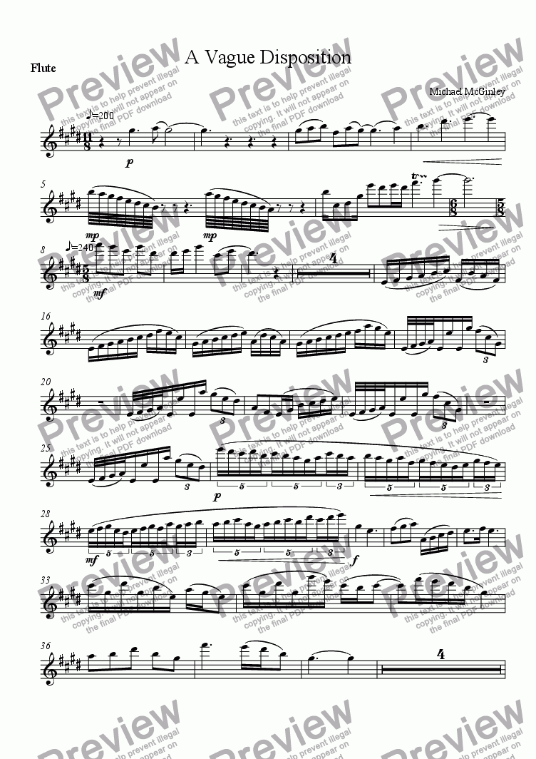 page one of the Flute part from A Vague Disposition