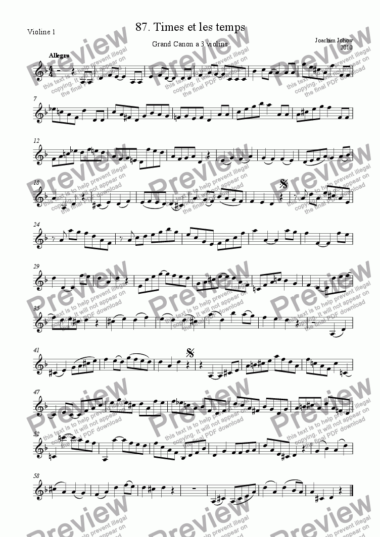 page one of the 1. Vl part from Grand Canon 87 (Times et les temps) a 3 violins