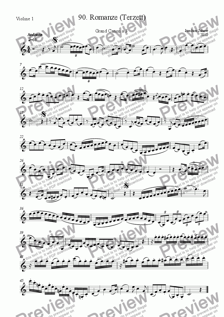 page one of the 1. Vl part from Grand Canon 90 (Romanze terzett)