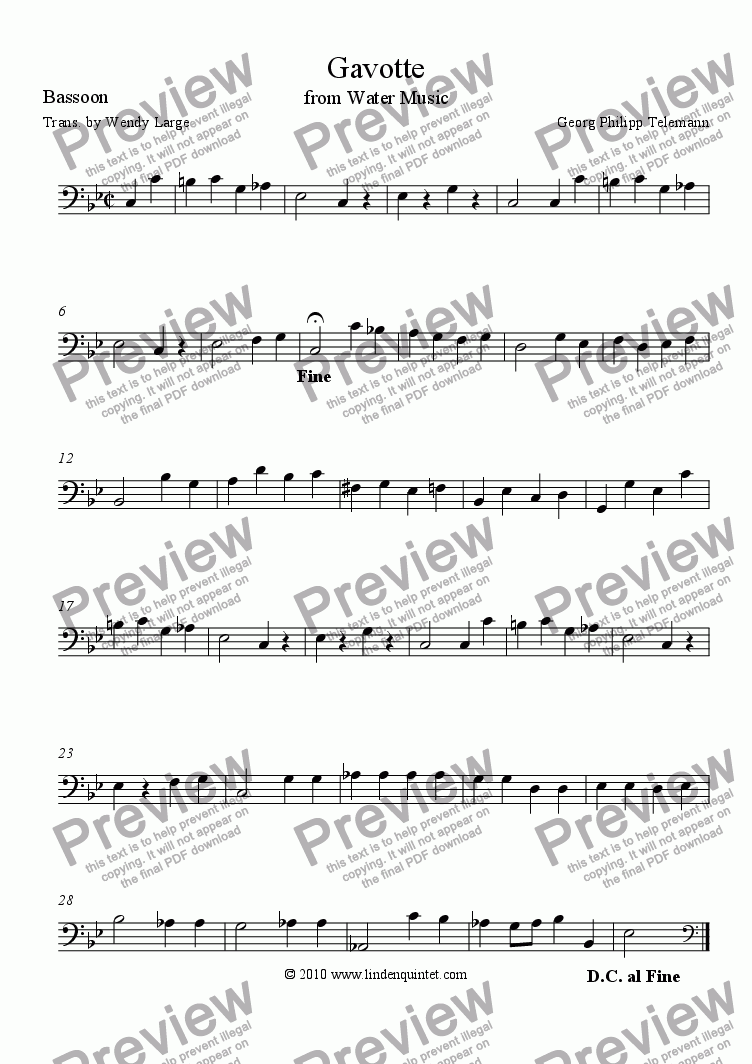 page one of the Bassoon part from Telemann - Water Music Suite - Gavotte & Bourree