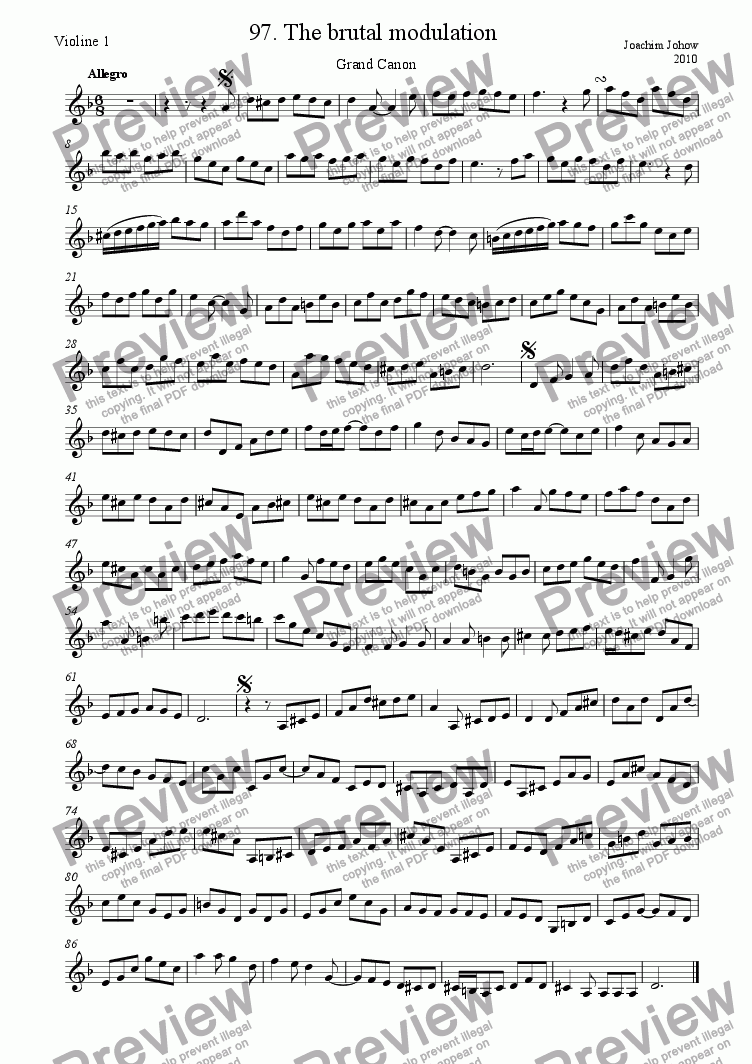 page one of the 1. Vl part from Grand Canon 97 (The brutal modulation)