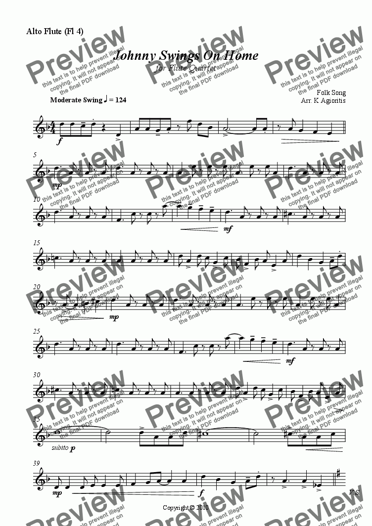 page one of the Alto Flute (Fl 4) part from Johnny Swings On Home - Flute Quartet