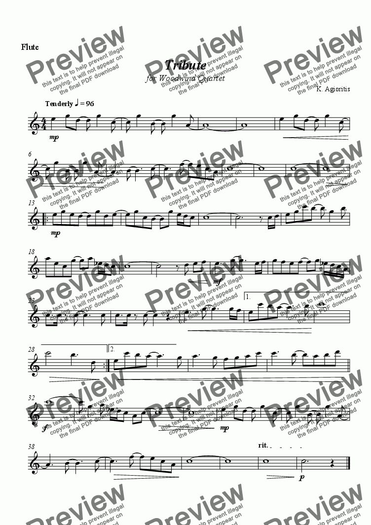 page one of the Flute part from Tribute - for woodwind quartet