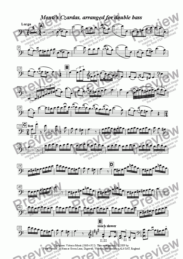 page one of the Double Bass part from Monti's Czardas (arr for double bass + piano)